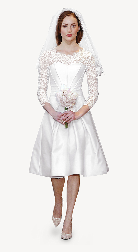 Vestido de corte clásico. Ideal para una boda civil en invierno