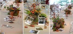 Centro de mesa con Polaroids