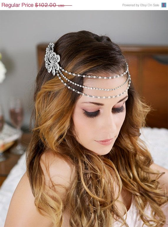Cadena de plata y perlas de Etsy.com