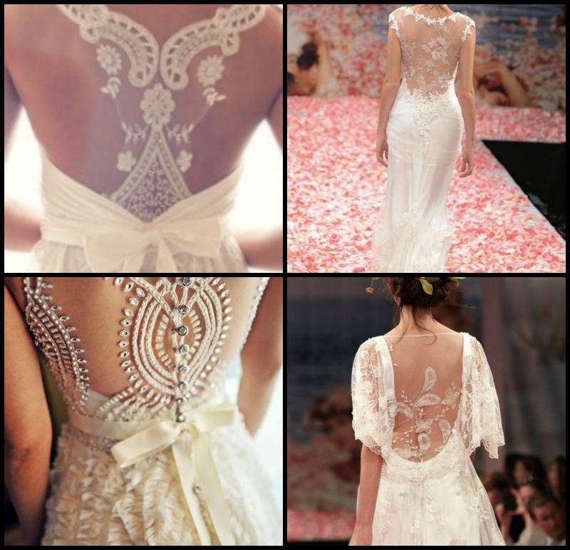 Vestido de novia con espalda con pedreria