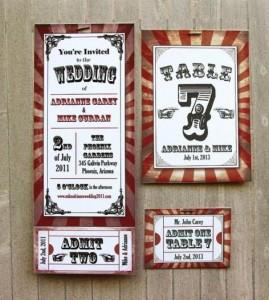 Invitacion de Boda basada en el Circo