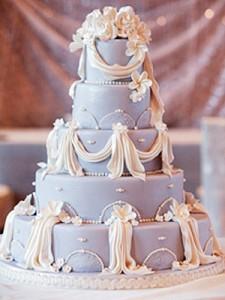 Pastel de boda azul