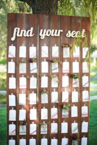 Tablón con los nombres y mesade los invitados