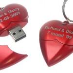 Memoria USB con forma de corazón